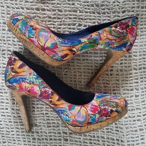 Shoes - Fioni floral & cork heels size 10